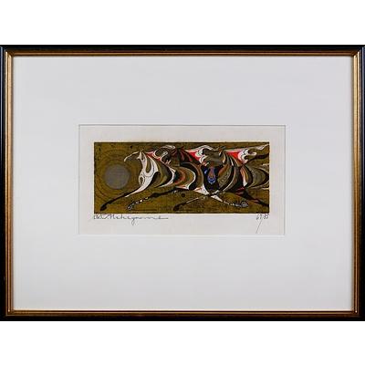 Tadashi Nakayama (1927-2014, Japanese), Three Horses 1969, Woodblock Edition 67/85, 9.5 x 24 cm (image size)