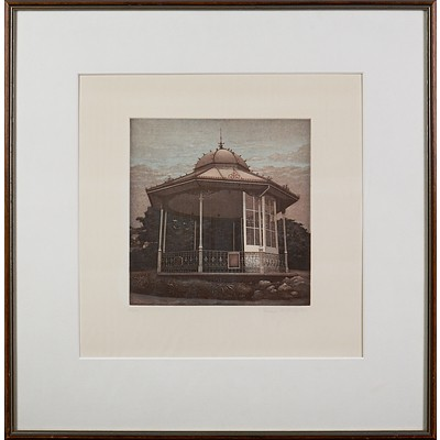 Terence Millington (born 1943, British), Bandstand 11, Etching Edition 62/75, 20.5 x 19.5 cm (image size)