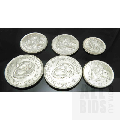AUSTRALIA: Collection of Silver Coins - all with mint lustre