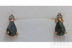 10ct Gold Sapphire & Diamond Earrings