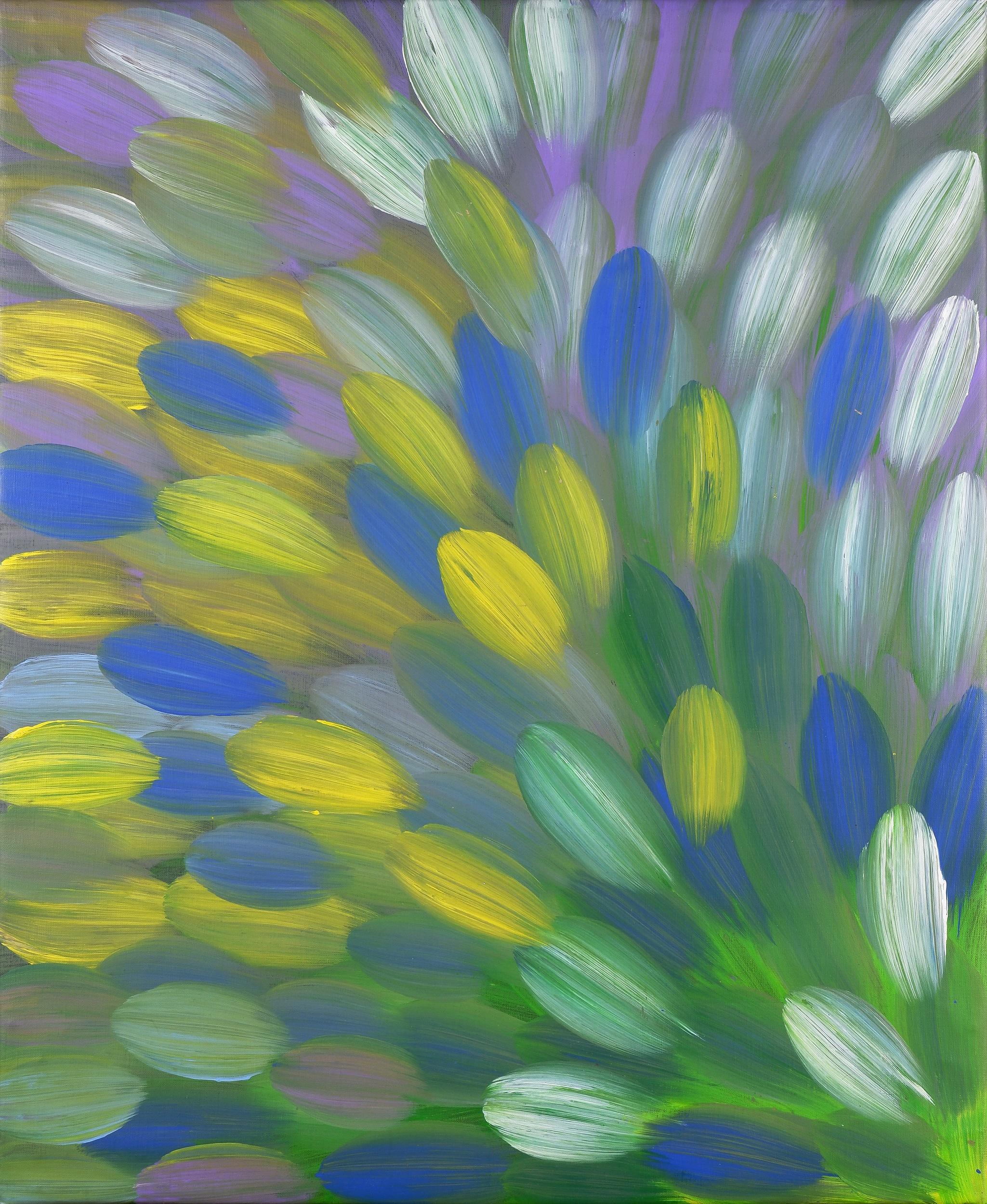 'Gloria Petyarre (born 1945, Anmatyerre language group), Bush Medicine Leaves 2016, Synthetic Polymer Paint on Canvas, 83 x 71 cm'