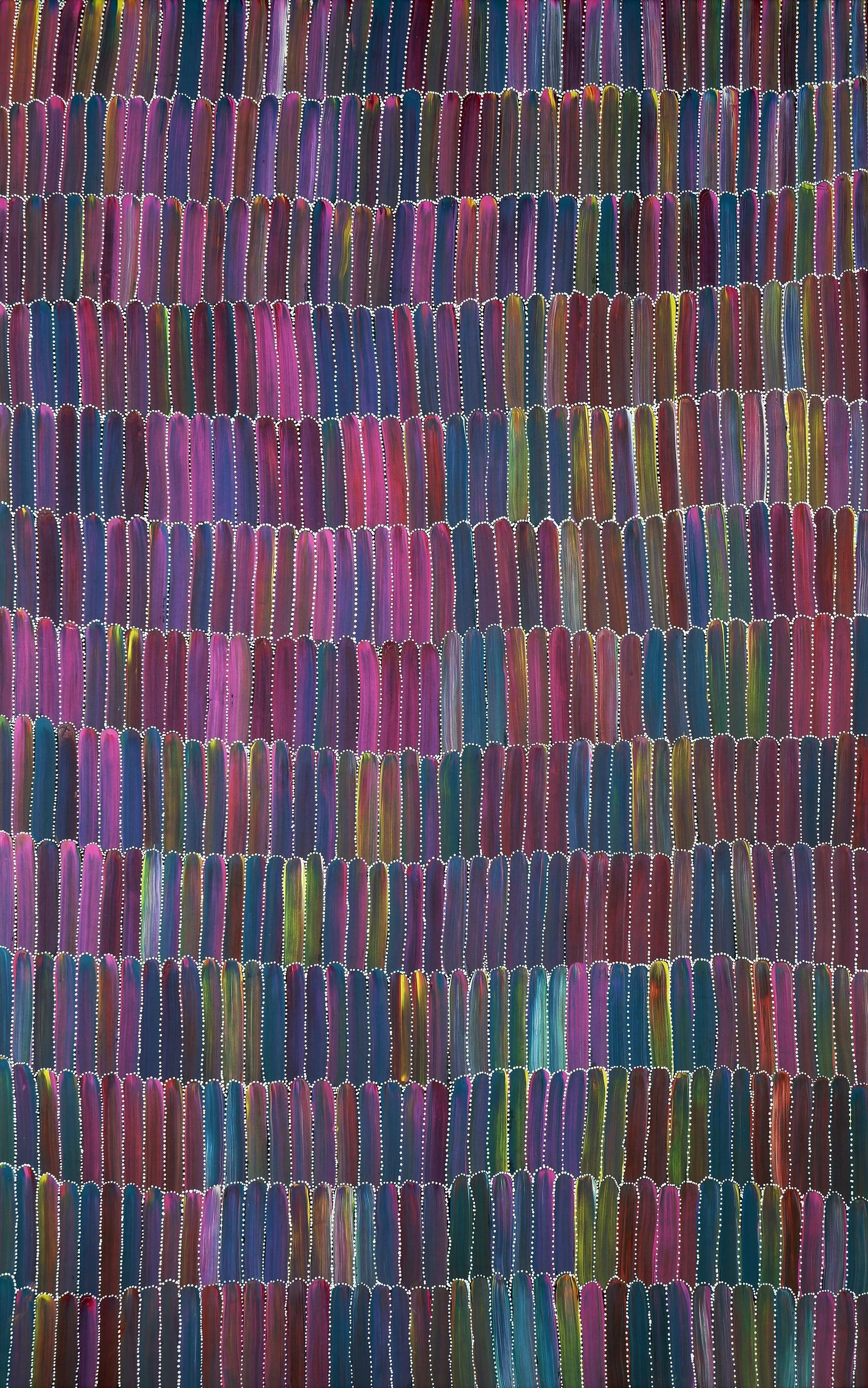 'Jeannie Mills Pwerle (born 1965), Bush Potatoes 2020, Synthetic Polymer Paint on Canvas, 152 x 95 cm'