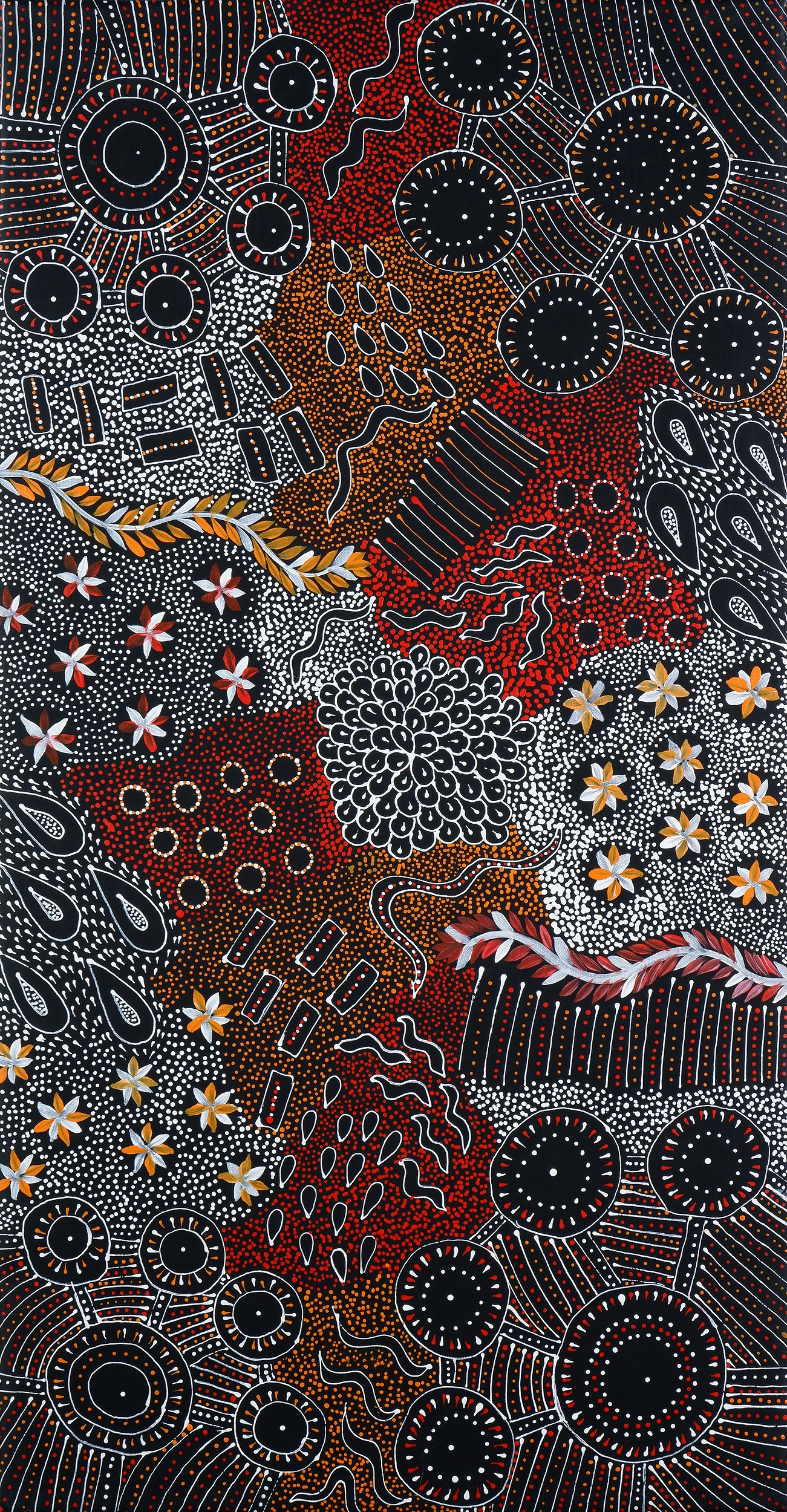 'Naomi Price Pula (Anmatyerre language group), My Country 2019, Synthetic Polymer Paint on Canvas, 96 x 51 cm'