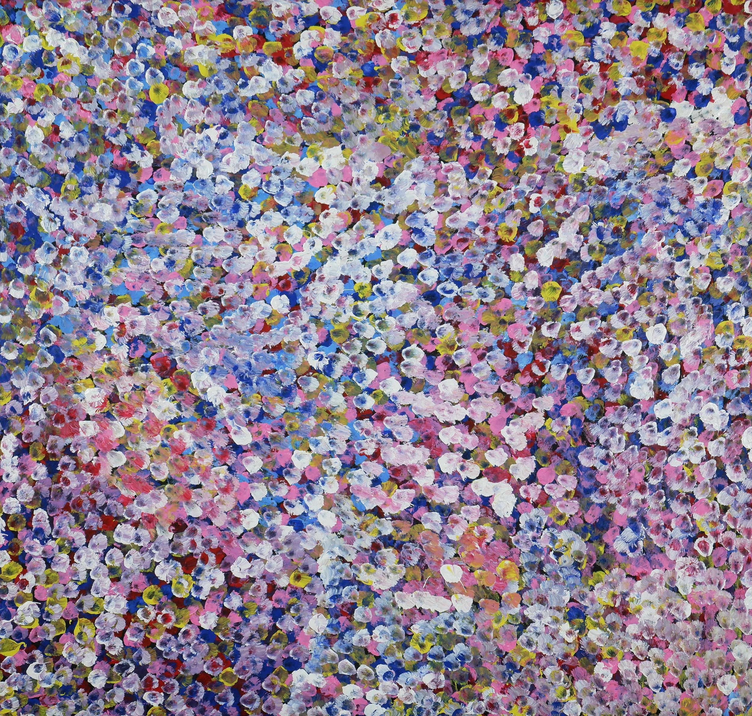 'Bessie Pitjara (born c1960, Anmatyerre language group), Bush Plums, Synthetic Polymer Paint on Canvas, 87 x 91 cm'