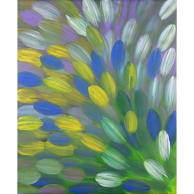 Gloria Petyarre (born 1945, Anmatyerre language group), Bush Medicine Leaves 2016, Synthetic Polymer Paint on Canvas, 83 x 71 cm