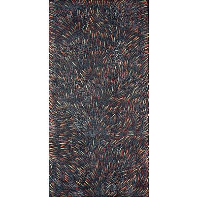 Gracie Morton Pwerle (c1956, Alyawarre language group), Bush Yam Leaves 2018, Synthetic Polymer Paint on Canvas, 120 x 61 cm