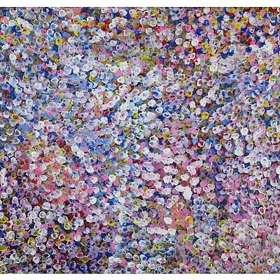 Bessie Pitjara (born c1960, Anmatyerre language group), Bush Plums, Synthetic Polymer Paint on Canvas, 87 x 91 cm