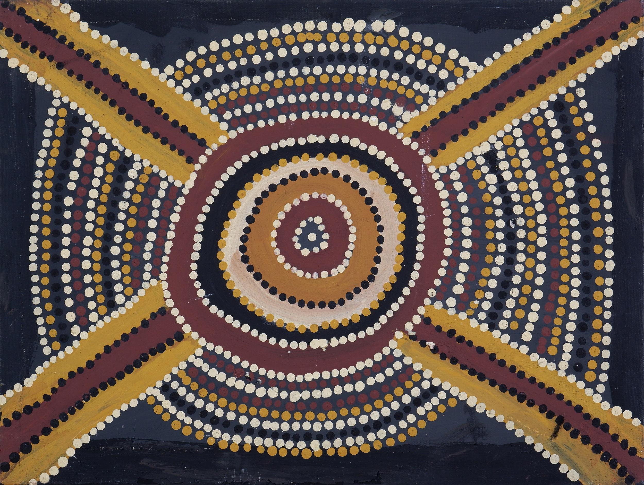 'Kittey Malarvie (born 1939, Djaru language group), Birrawoorl, Natural Ochres and Pigments on Canvas, 30 x 40 cm'