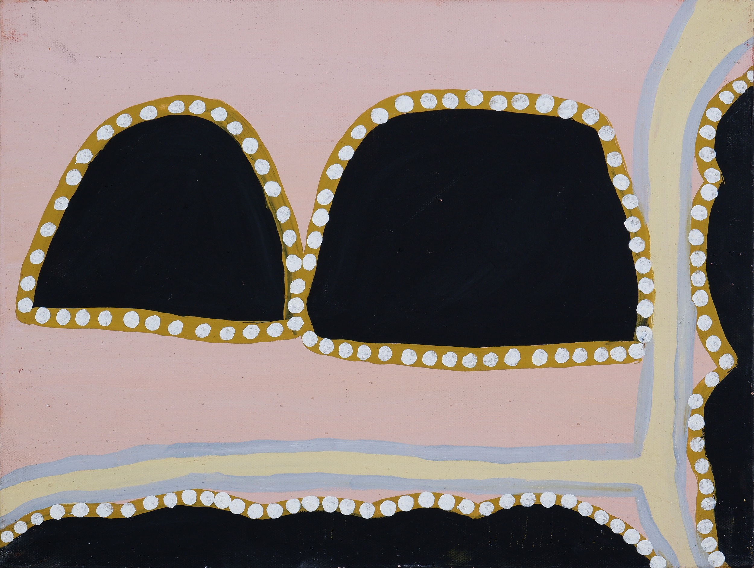 'Yvonne Newry (born 1973, Miriwoong language group), Merilnyarriyam, Natural Ochres and Pigments on Canvas, 30 x 40 cm'