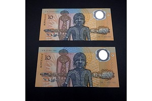 Two 1988 Australian Polymer Bicentennial Commemorative $10 Notes, AB17961796 and AB15632235