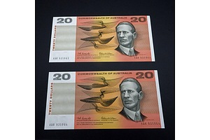 Two Consecutive Australian Coombs / Wilson $20 Notes, XAR935963 and XAR935964