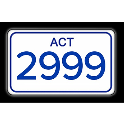 ACT Number Plate 2999