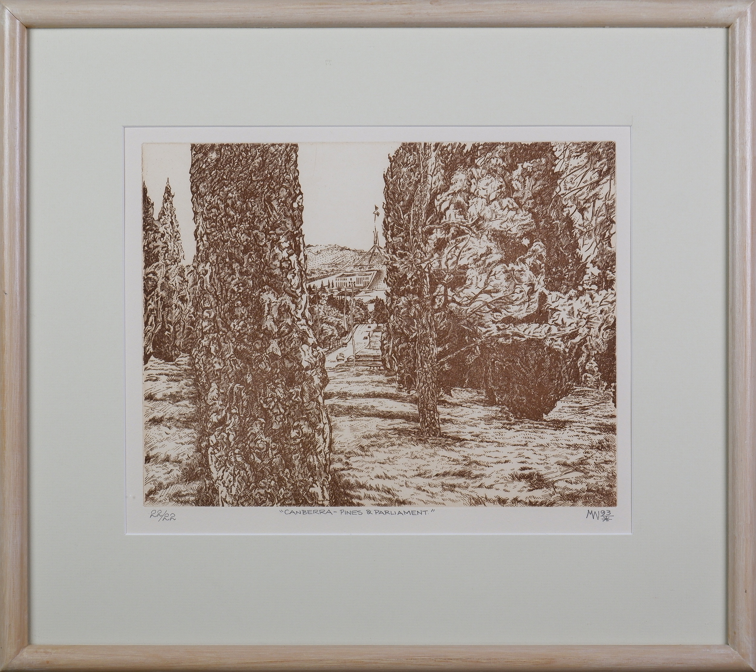 'Michael Winters (born 1943), Canberra - Pines and Parliament 1993, Etching, Edition 22/22, 24.5 x 31.5 cm (image size) '