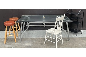 Assorted Lot Of Household Furniture Including Bar Stools, Mobile Trolley And Outdoor Table