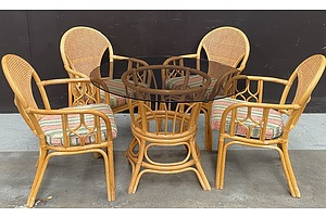 Smoked Glass Wicker Outdoor Table With Four Wicker Chairs