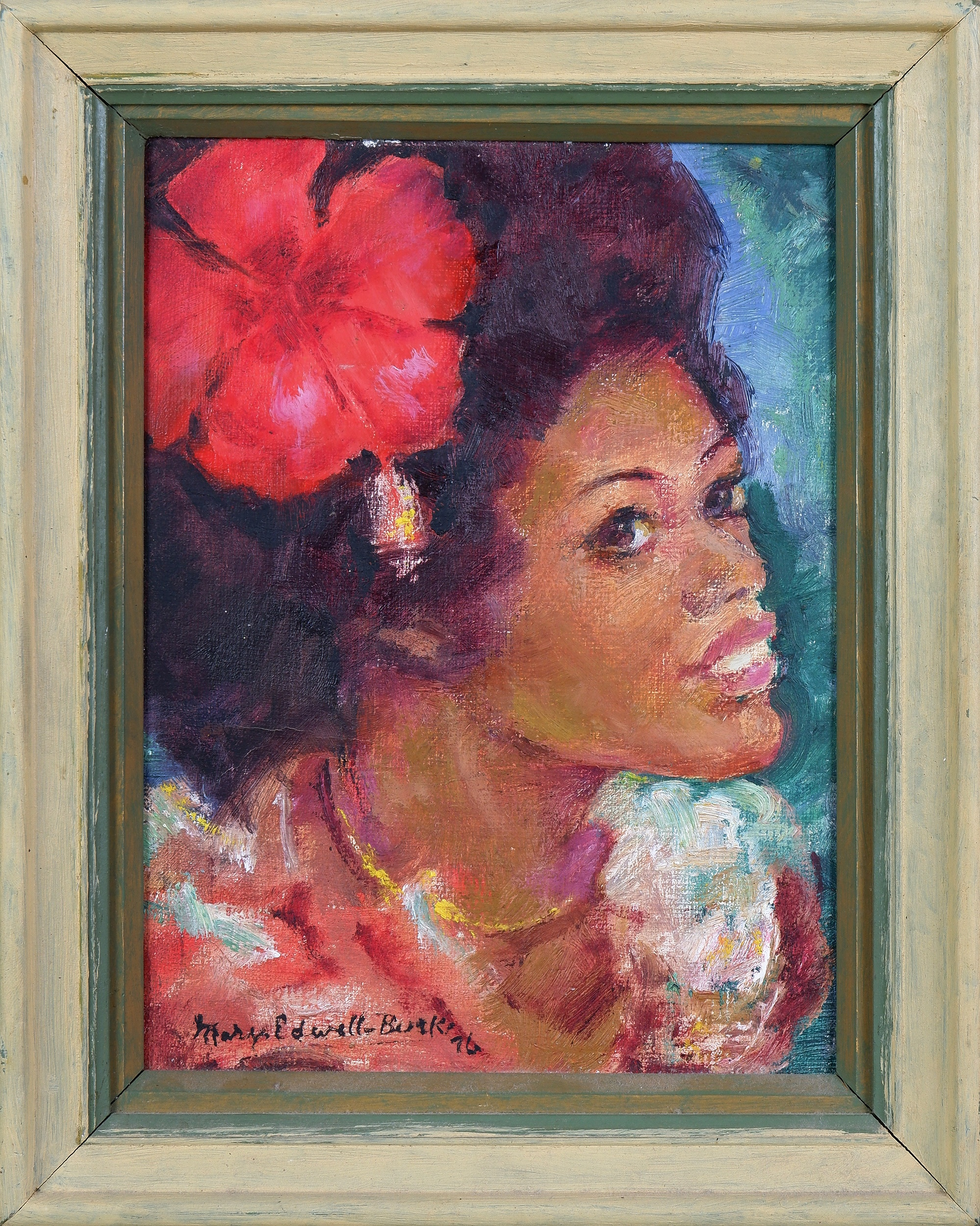 'Mary Edwell-Burke (1894-1988), Untitled (Fijian Woman) 1976, Oil on Canvas on Board, 19 x 14 cm'