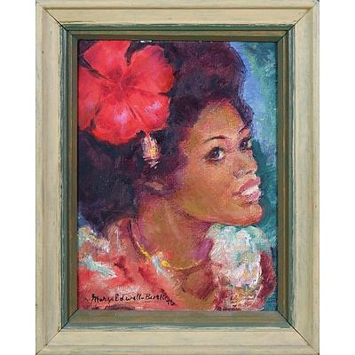Mary Edwell-Burke (1894-1988), Untitled (Fijian Woman) 1976, Oil on Canvas on Board, 19 x 14 cm
