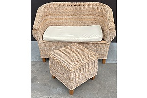 Wicker Two Seat Lounge And Wicker Ottoman