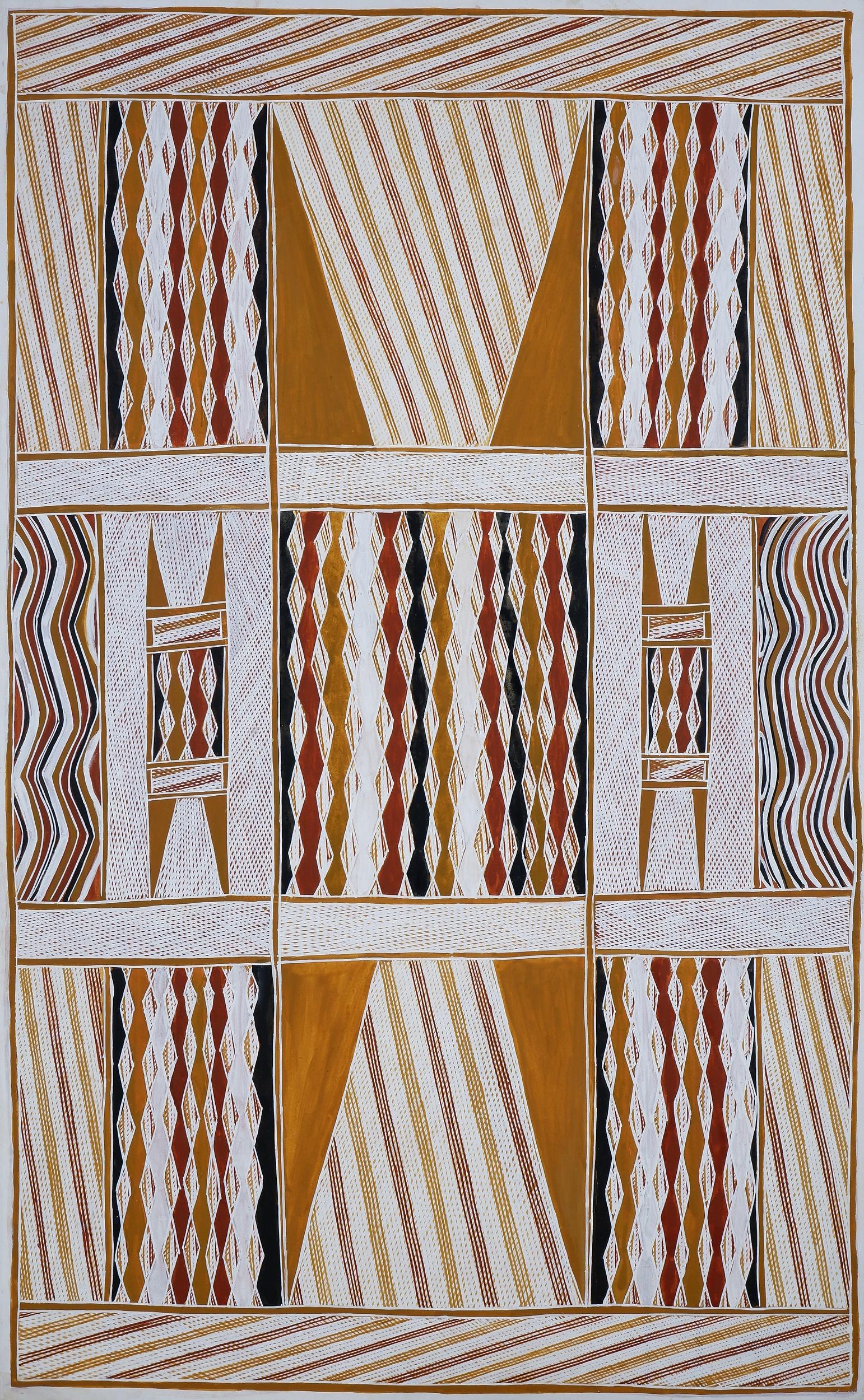 'Raymond Bulambula (born 1945, Wobulkarra/Manjikay language group), Dhukurrurru at Milaway (Sacred Rock), Natural Ochre on Canvas, 180 x 111 cm'