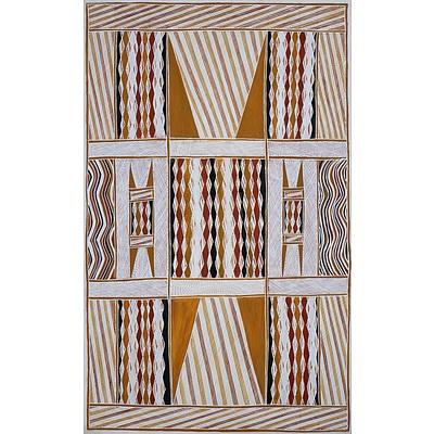 Raymond Bulambula (born 1945, Wobulkarra/Manjikay language group), Dhukurrurru at Milaway (Sacred Rock), Natural Ochre on Canvas, 180 x 111 cm