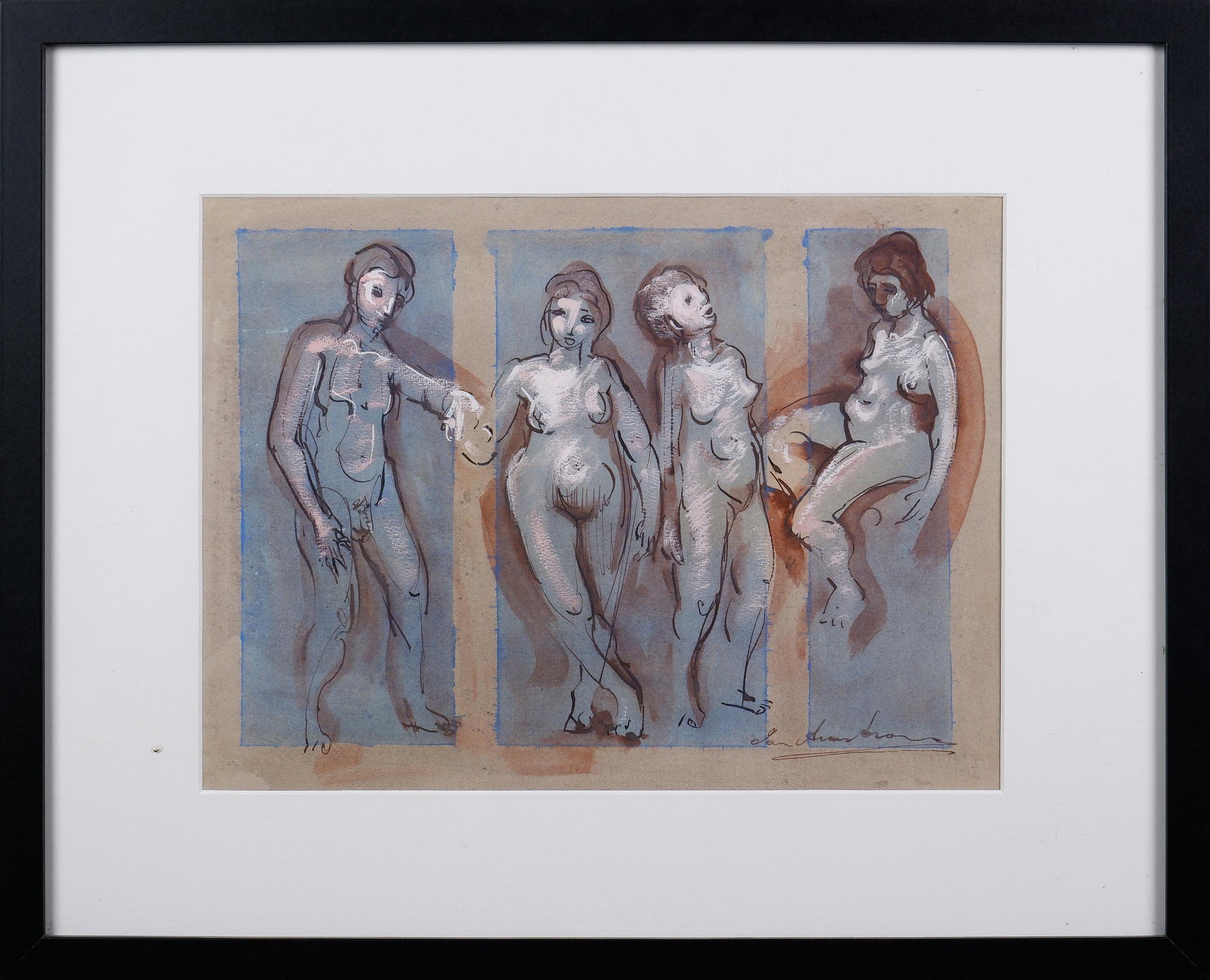 'Ian Armstrong (1923-2005), Untitled (Figure Study) 1955, Ink & Gouache, 25.5 x 34.5 cm'