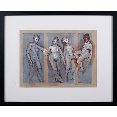 Ian Armstrong (1923-2005), Untitled (Figure Study) 1955, Ink & Gouache, 25.5 x 34.5 cm