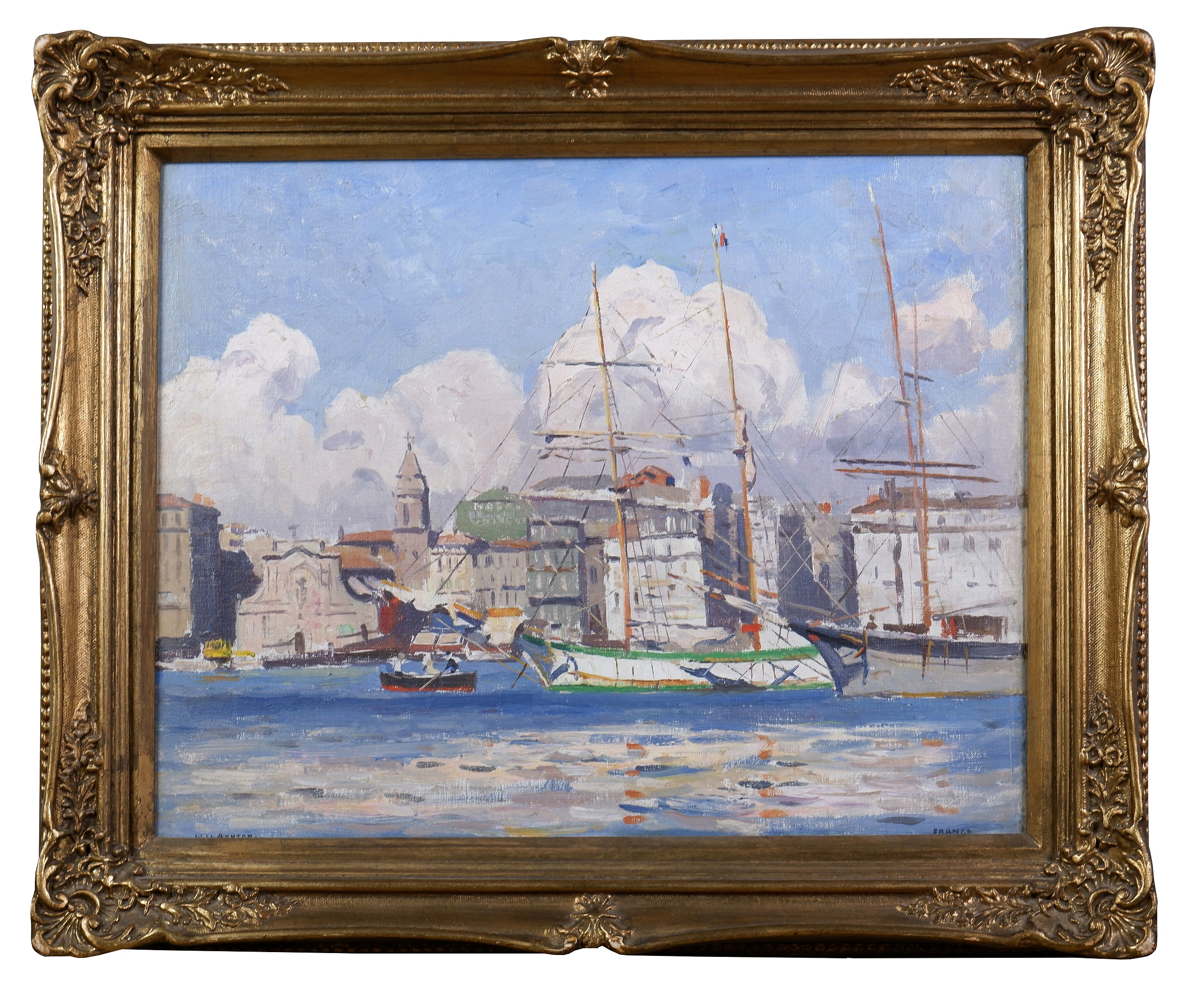 'Will Ashton (1881-1963), Summer Clouds, Marseille Harbour, Oil on Canvasboard, 35 x 45 cm'