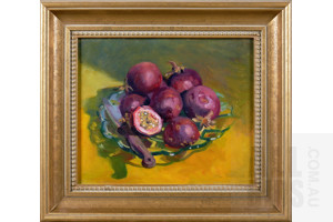 Val Johnson (late 20th Century), Passionfruit, Oil on Canvas on Board, 24 x 29 cm