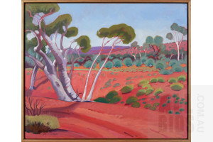 Val Johnson (late 20th Century), Red Sand Outback, Oil on Canvas, 50 x 60 cm