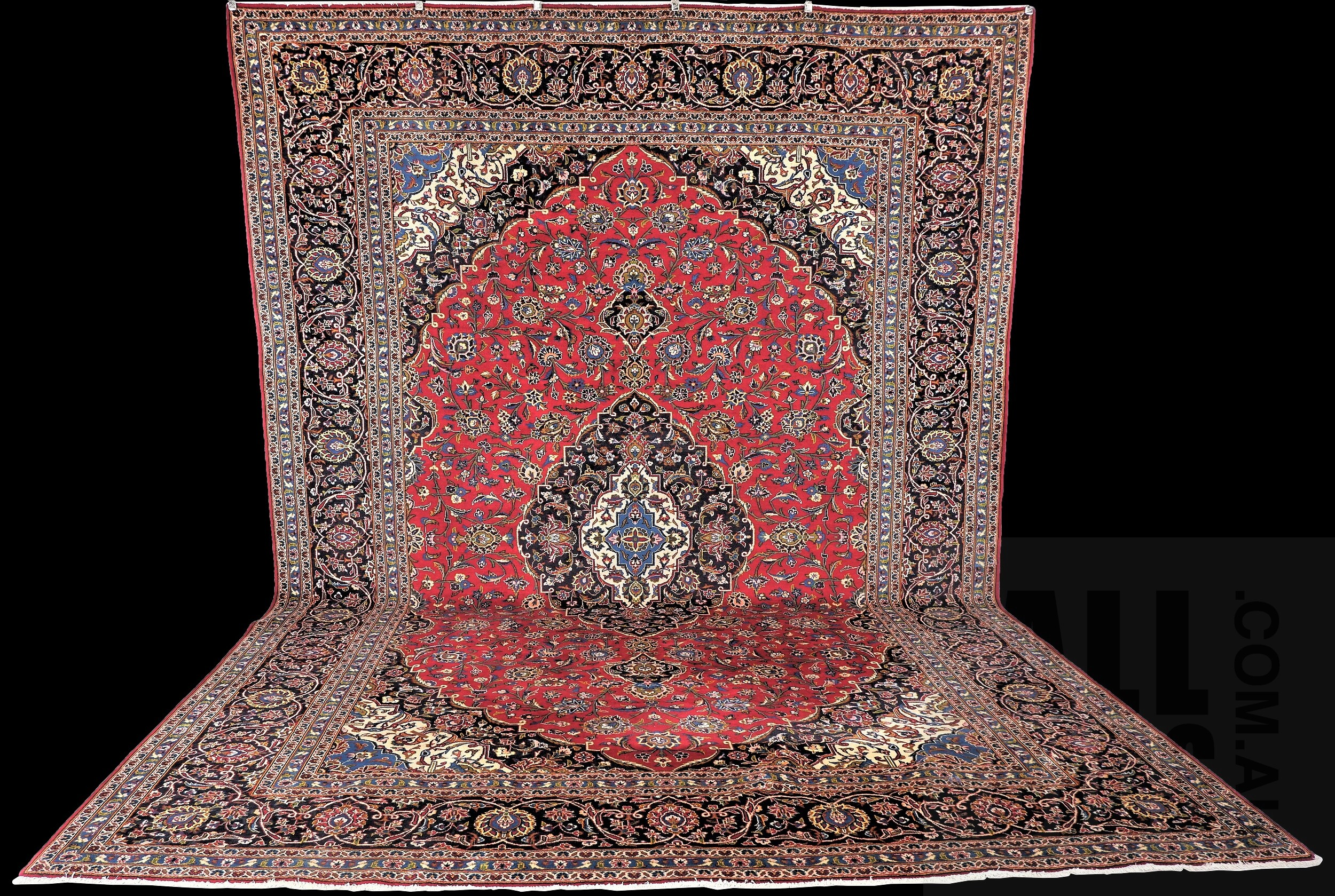 'Magnificent Vintage Persian Kashan Hand Knotted Kork Wool Room Sized Carpet with Classic Book Cover Design,Madder Red Field and Shah Abbas Motif '