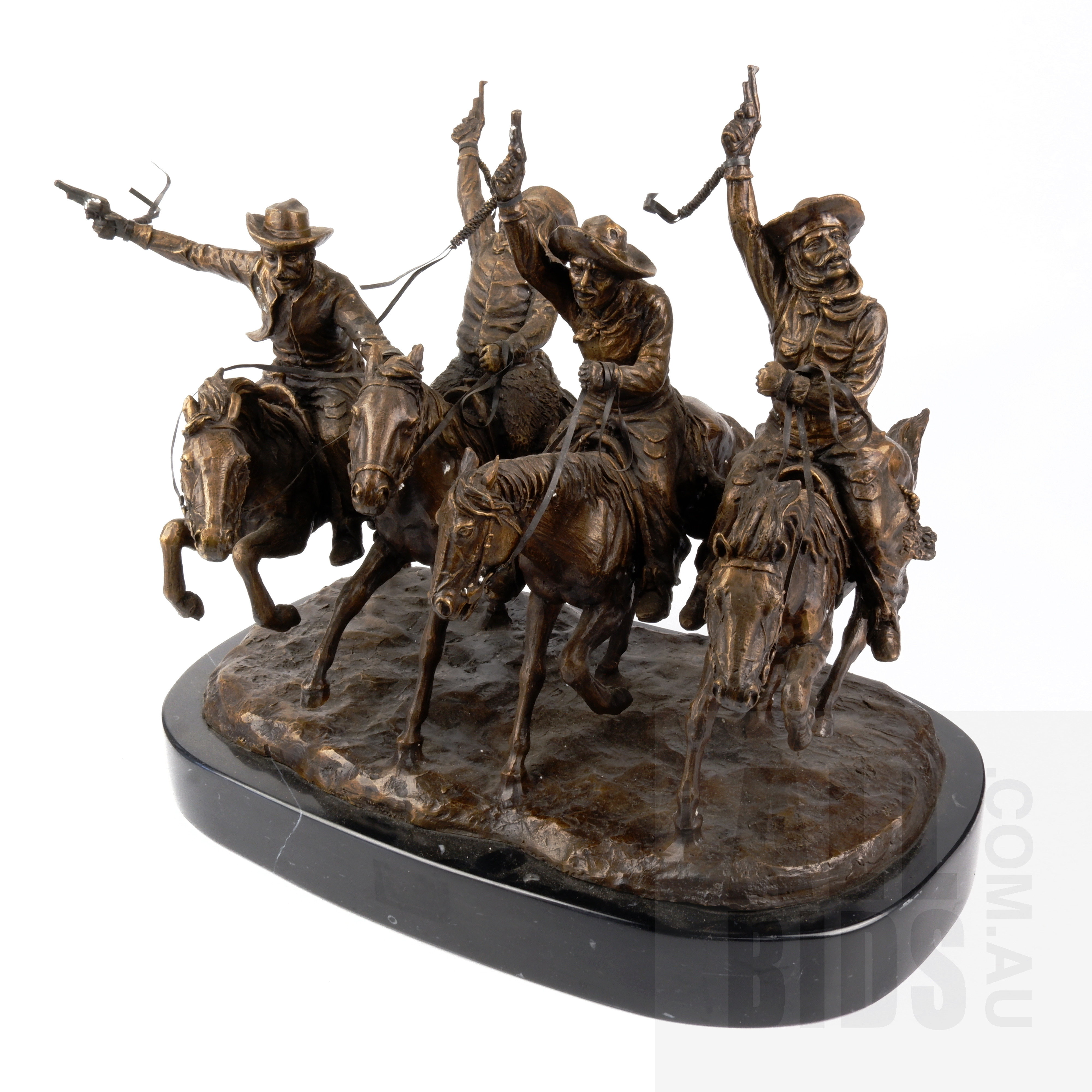 'Frederic Remington (1861-1909), Coming Through the Rye, Bronze, Height: 34 cm including base'