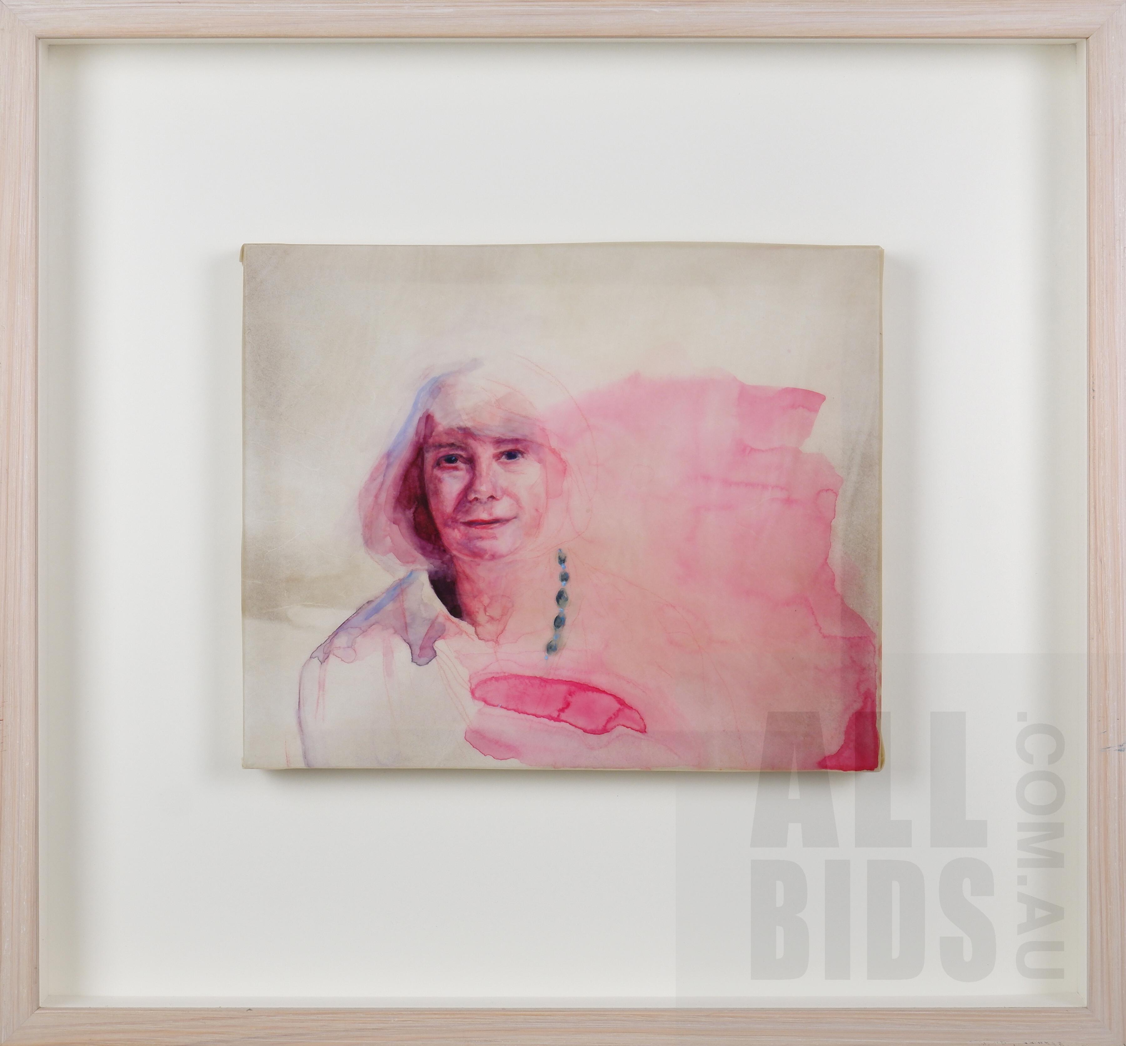 'Leeanne Crisp (born 1950), Study - Portrait of Marion Halligan, Gouache and Watercolour on Vellum, 24.5 x 29.5 cm'