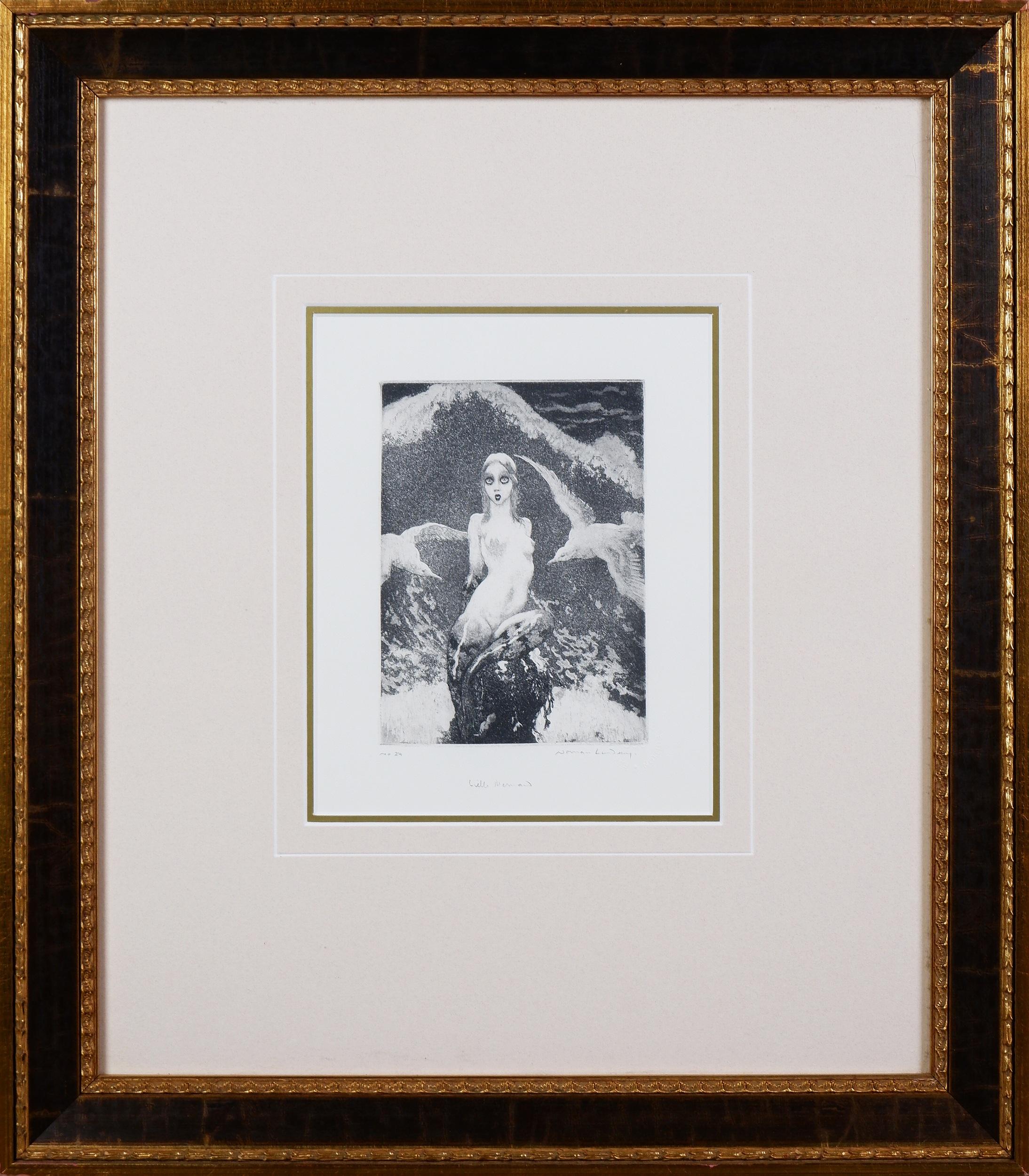 'Norman Lindsay (1879-1969), Little Mermaid, Facsimile Etching, 17.5 x 12.5 cm'