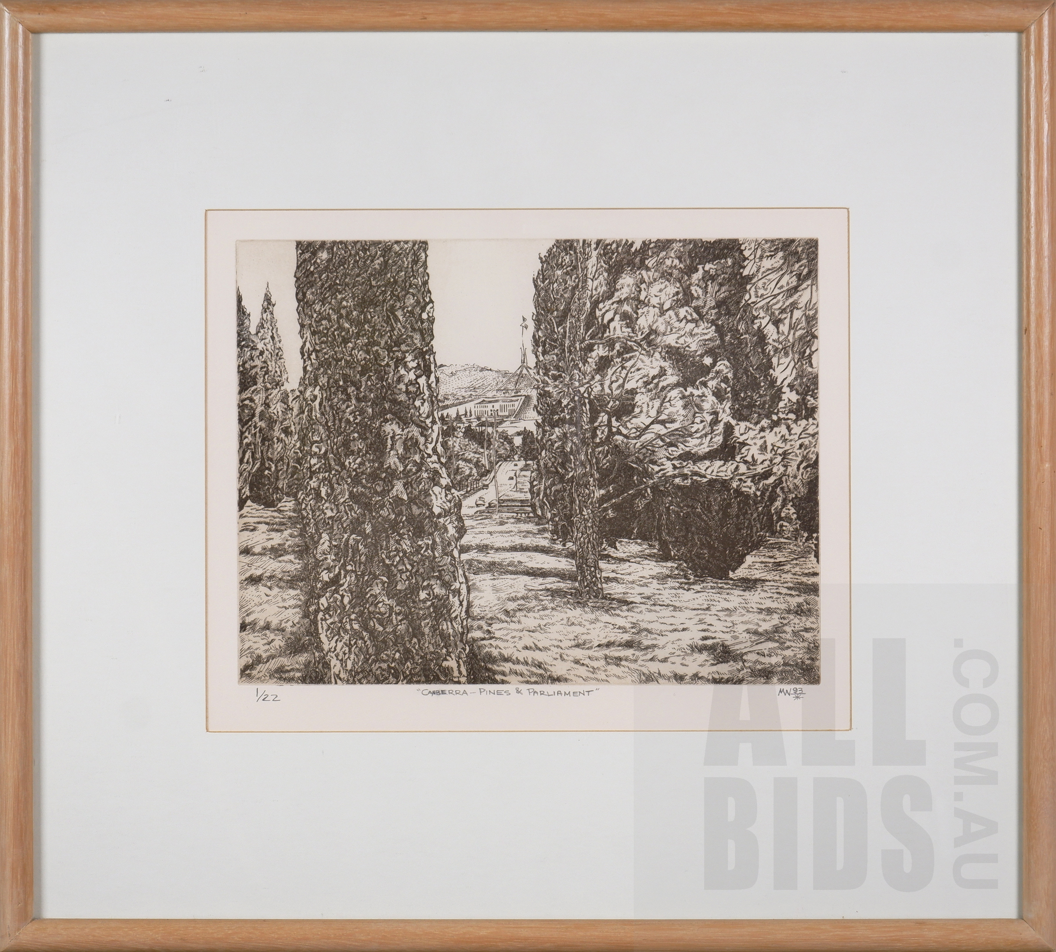 'Michael Winters (born 1943), Canberra - Pines and Parliament 1993, Etching, 24.5 x 31.5 cm (image size)'