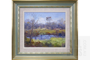 J. Colin Angus (1907-2002), Billabong, Oil on Canvas, 29 x 34 cm