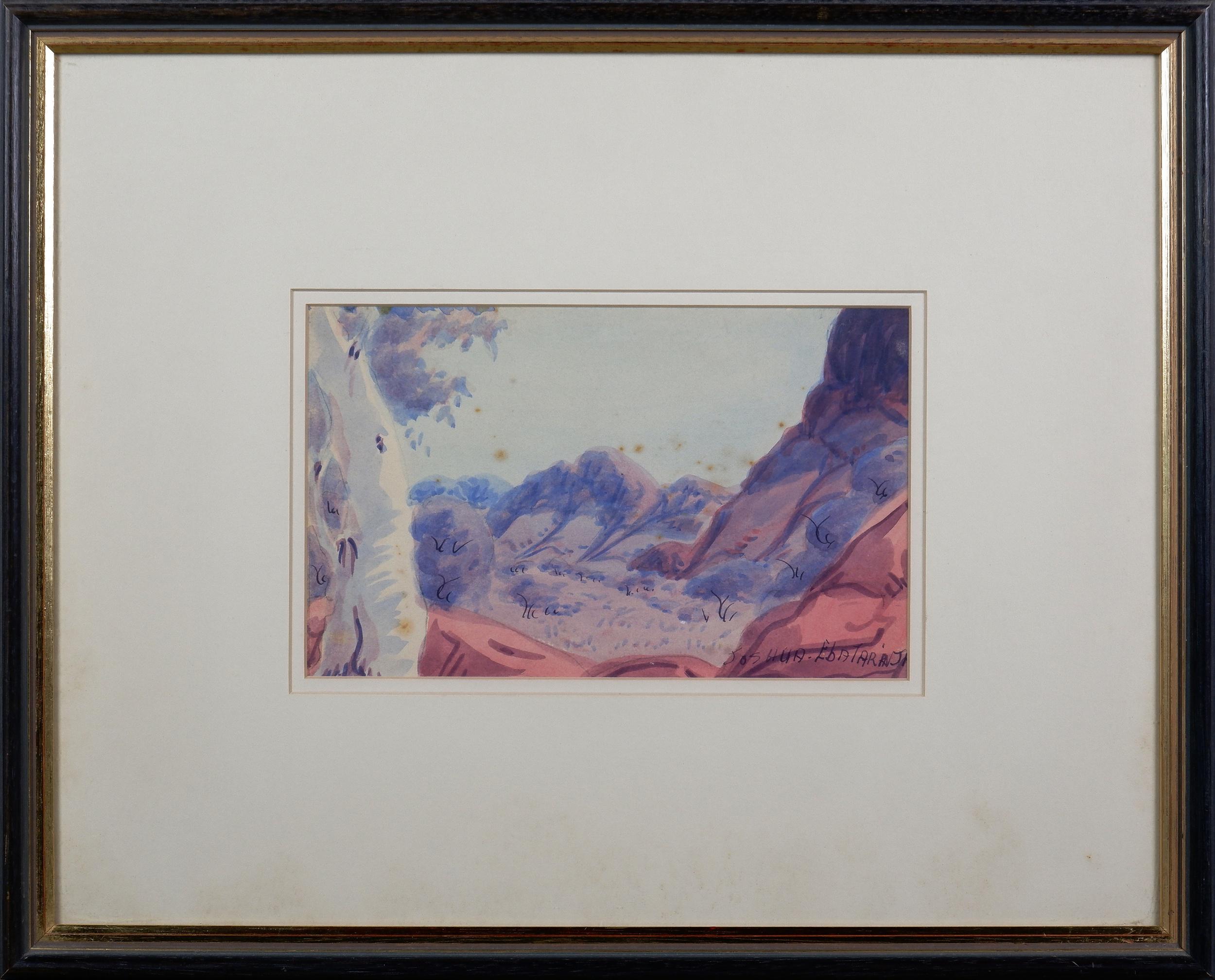 'Joshua Ebatarinja (1940-1973), Central Australian Landscape, Watercolour, 15.5 x 25 cm'