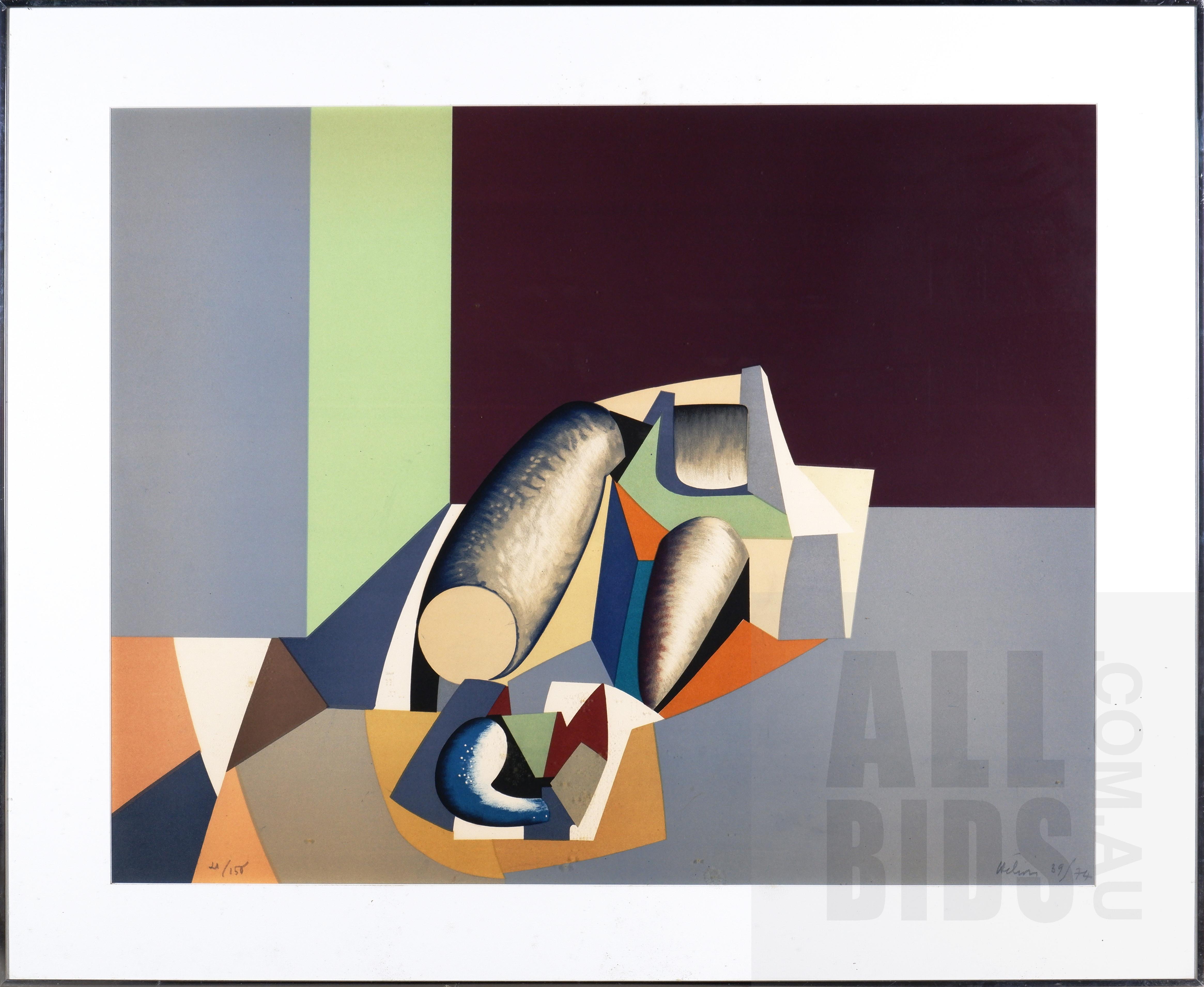'Jean Helion (1904-1987, French), Composition Fond Gris et Noir 1974, Lithograph, 66 x 83 cm (image size)'