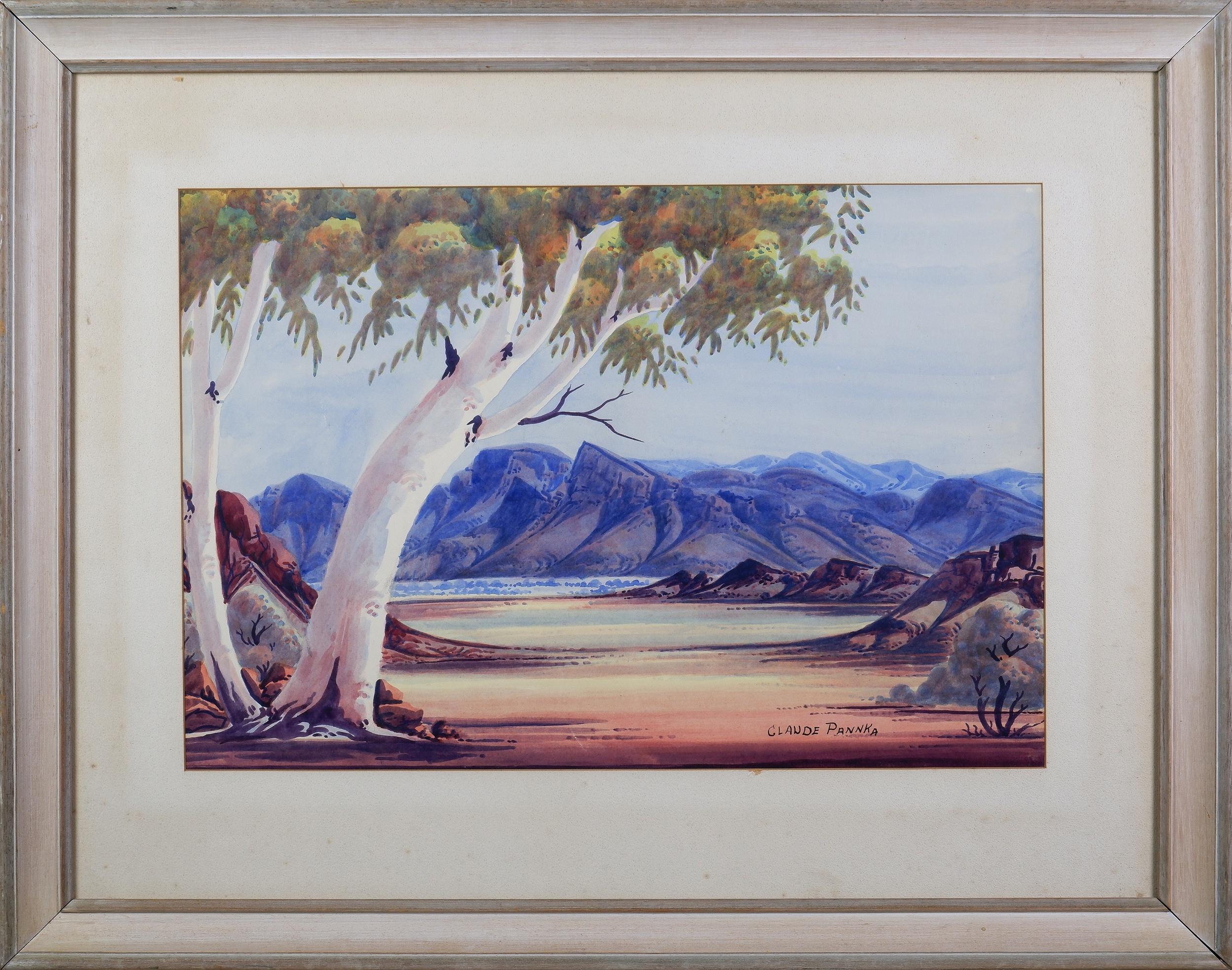 'Claude Pannka (1928-1972), Central Australian Landscape, Watercolour, 34.5 x 51 cm'