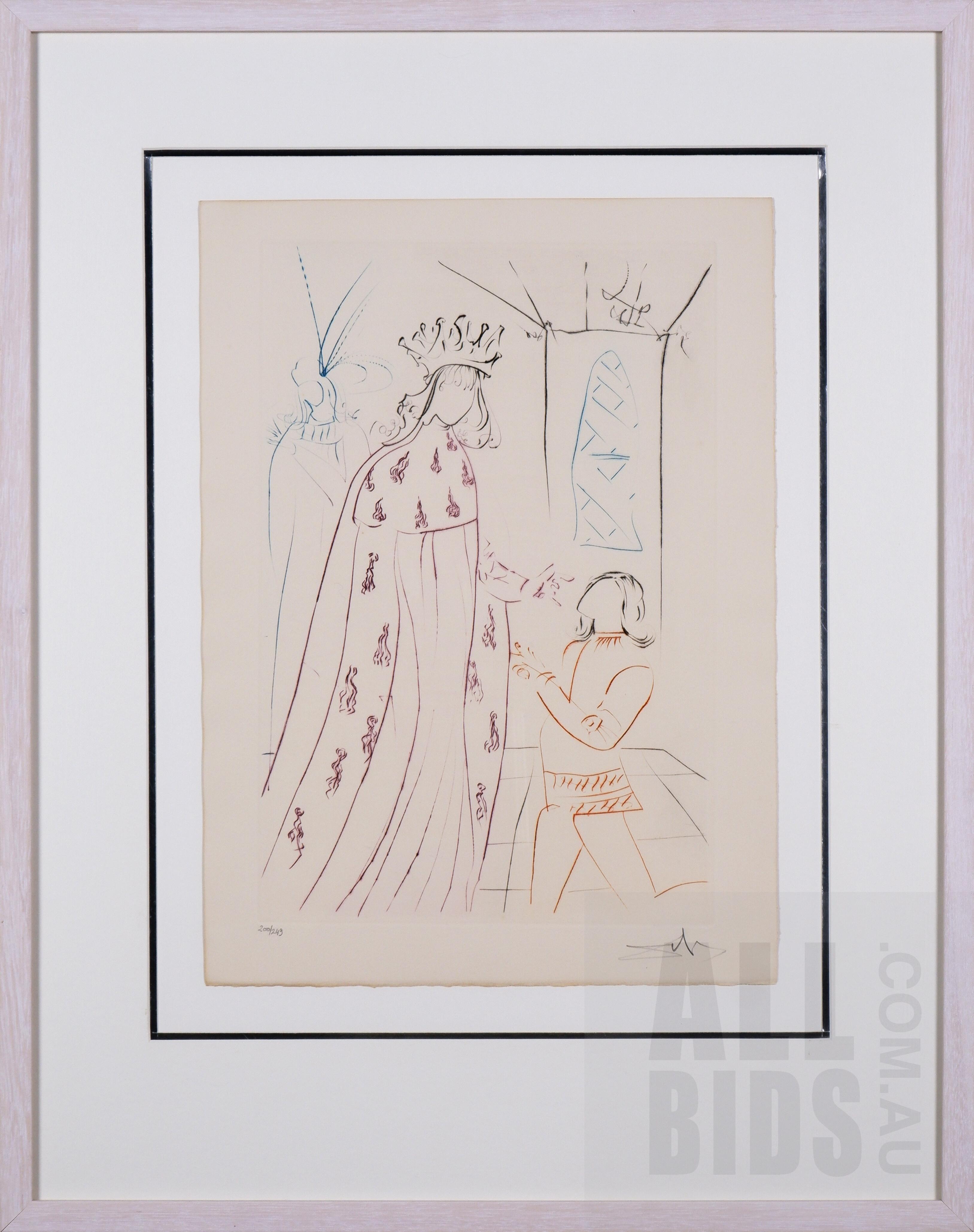 'Salvador Dali (1904-1989, Spanish), Ladoublement de Lancelot (The Knighting of Lancelot) from La quete du Graal (The Quest for the Grail), Drypoint, 39.5 x 29 cm (image size)'