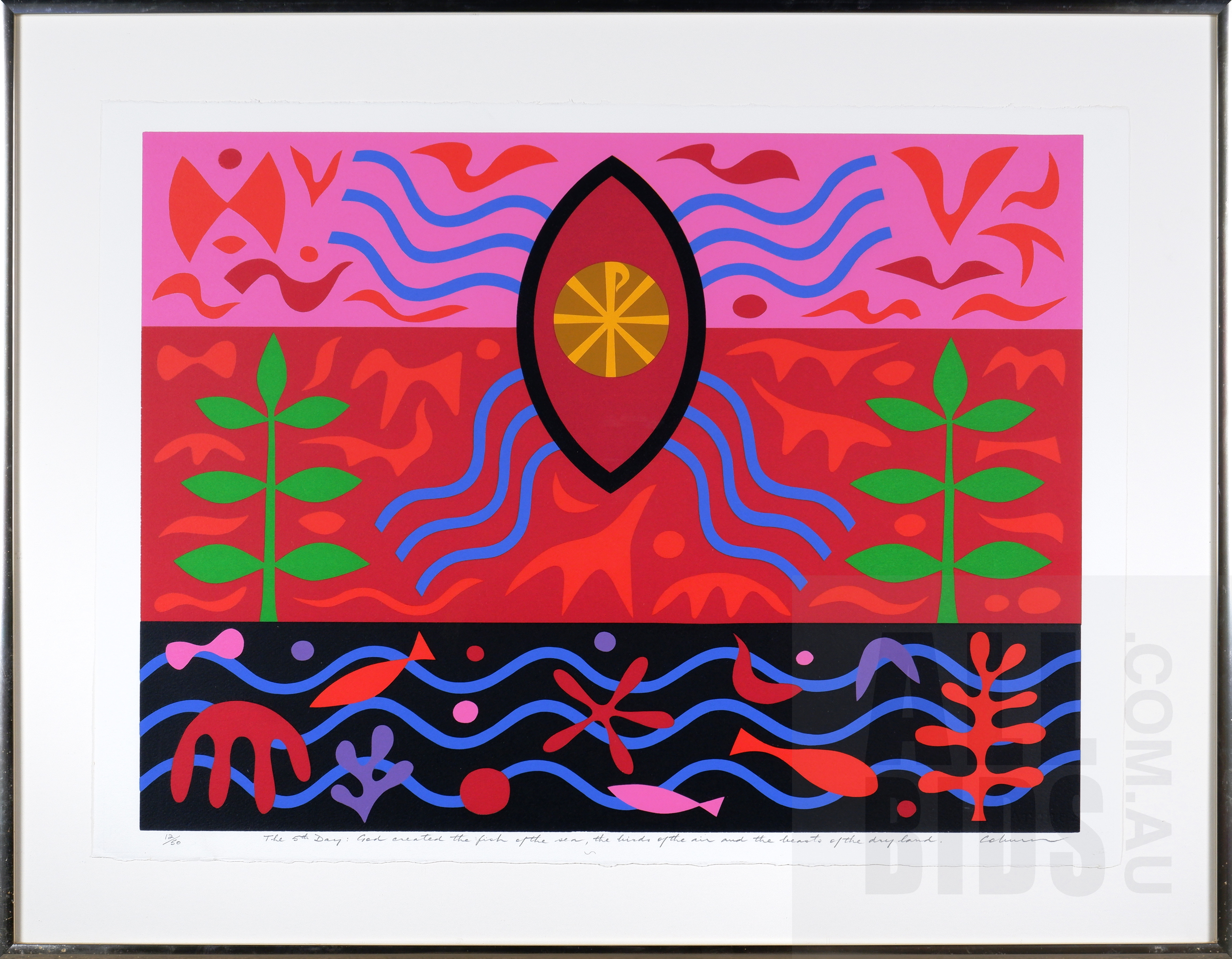 'John Coburn (1931-1986), The 5th Day: God Created the Fish of the Sea and the Birds of the Air and the Beasts of the Land 1977, Screenprint, 52 x 70 cm (image size) '