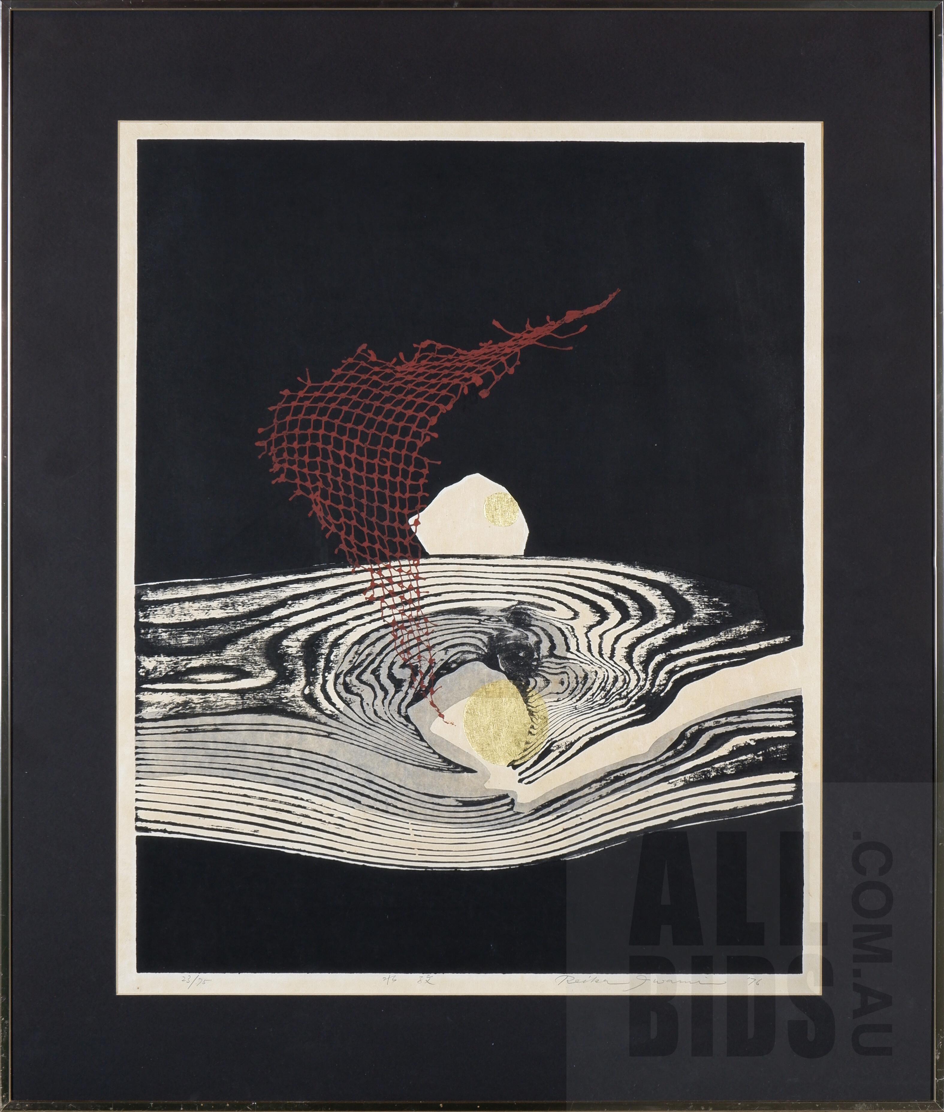 'Reika Iwami (1927-2020 Japanese), Water Ripples 1976, Woodblock, 66 x 50 cm (image size)'