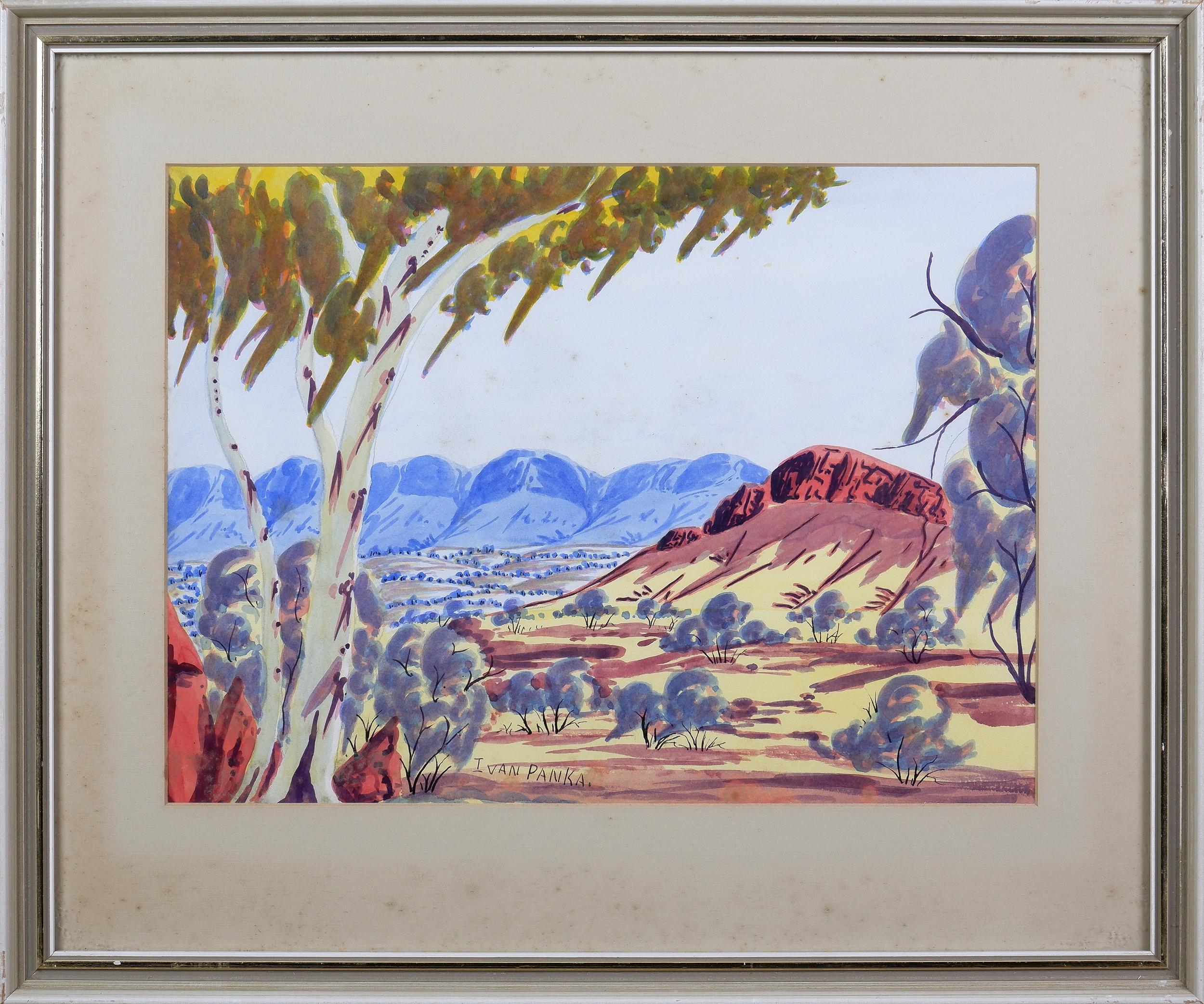 'Ivan Pannka (1943-1999),  Central Australian Landscape, Watercolour, 26 x 36 cm'