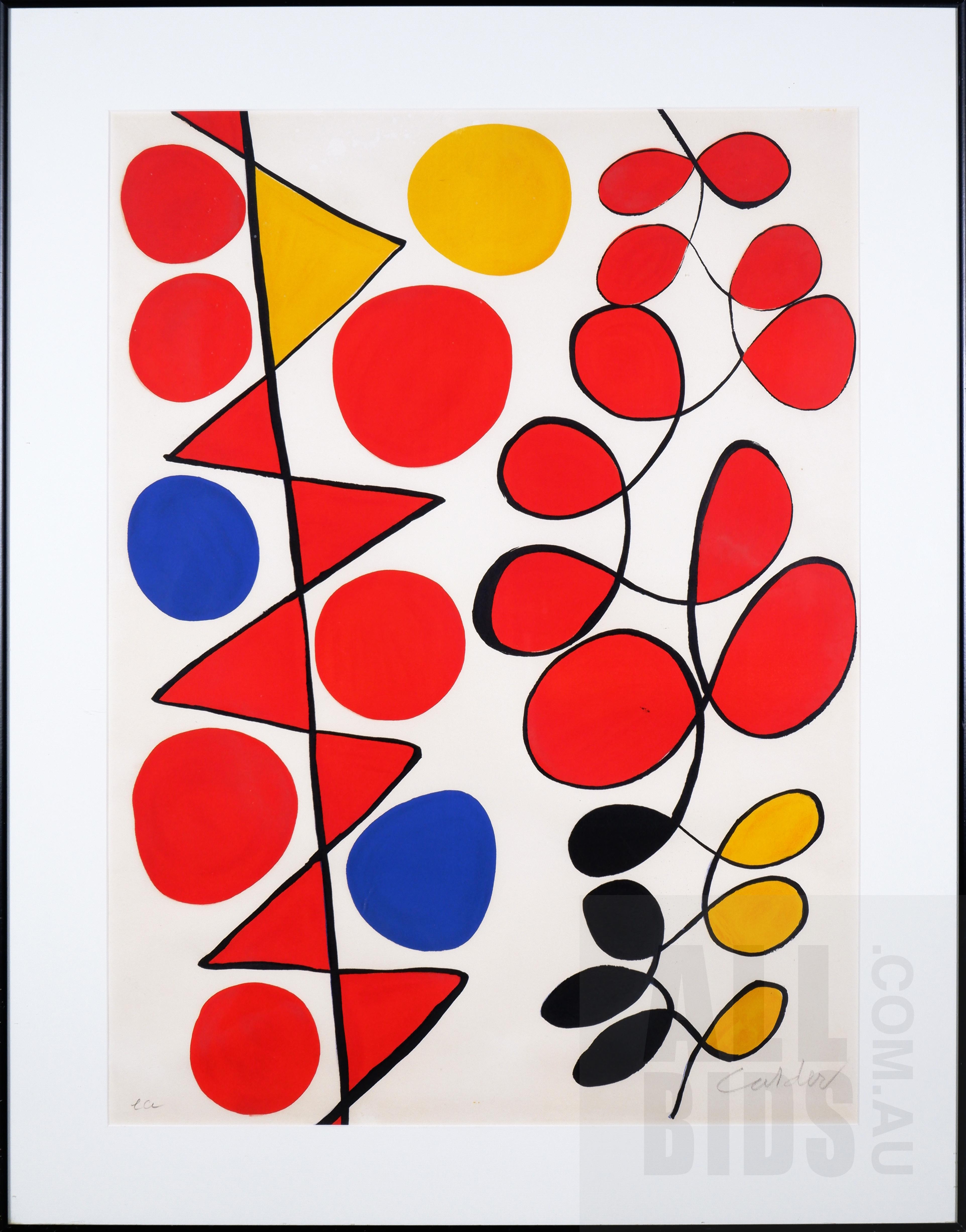 'Alexander Calder (1898-1976, American), Composition c1970, Lithograph, 77 x 58 cm (image size)'