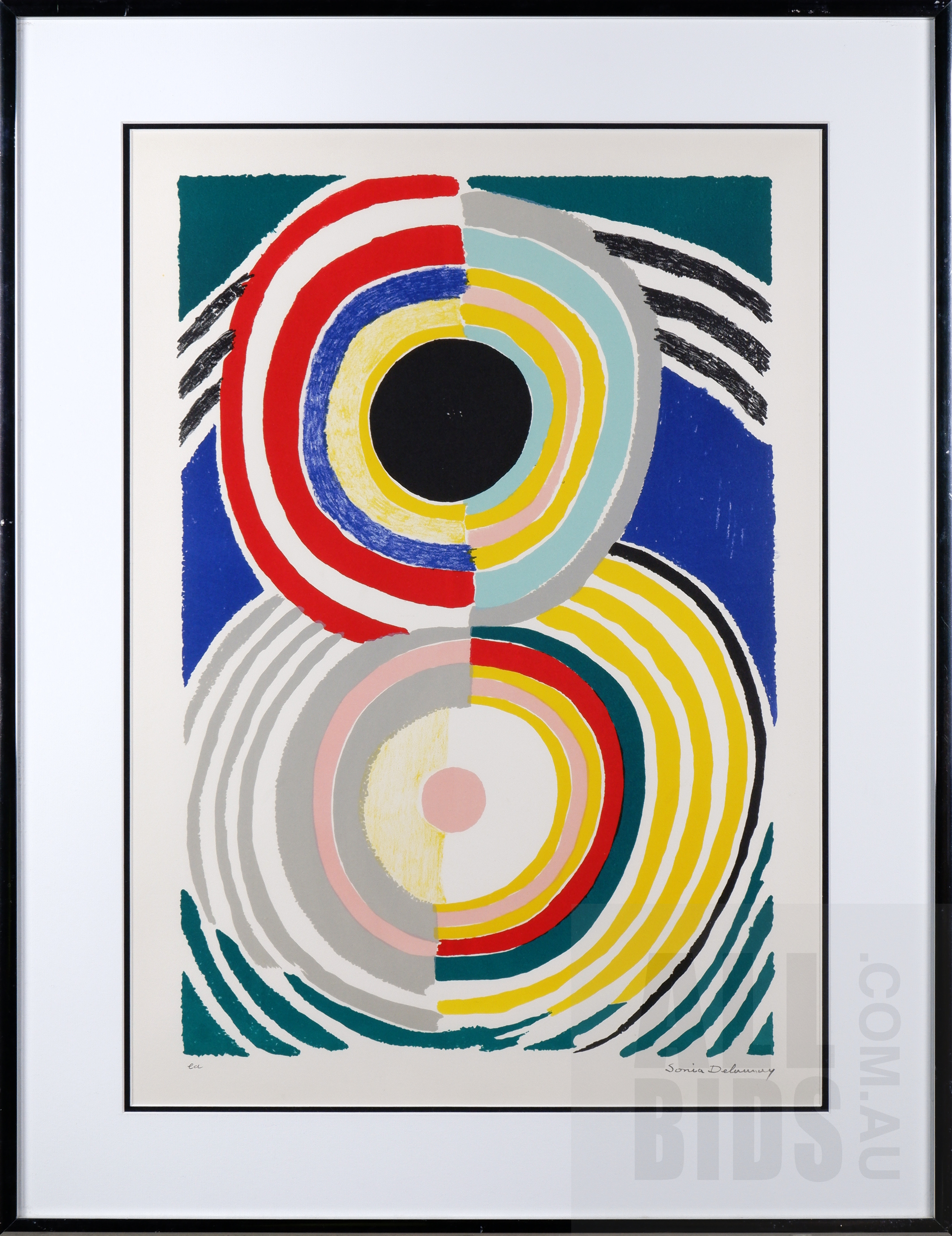 'Sonia Delaunay (1885-1995, French), Cible c1970, Lithograph, 55 x 37 cm (image size)'