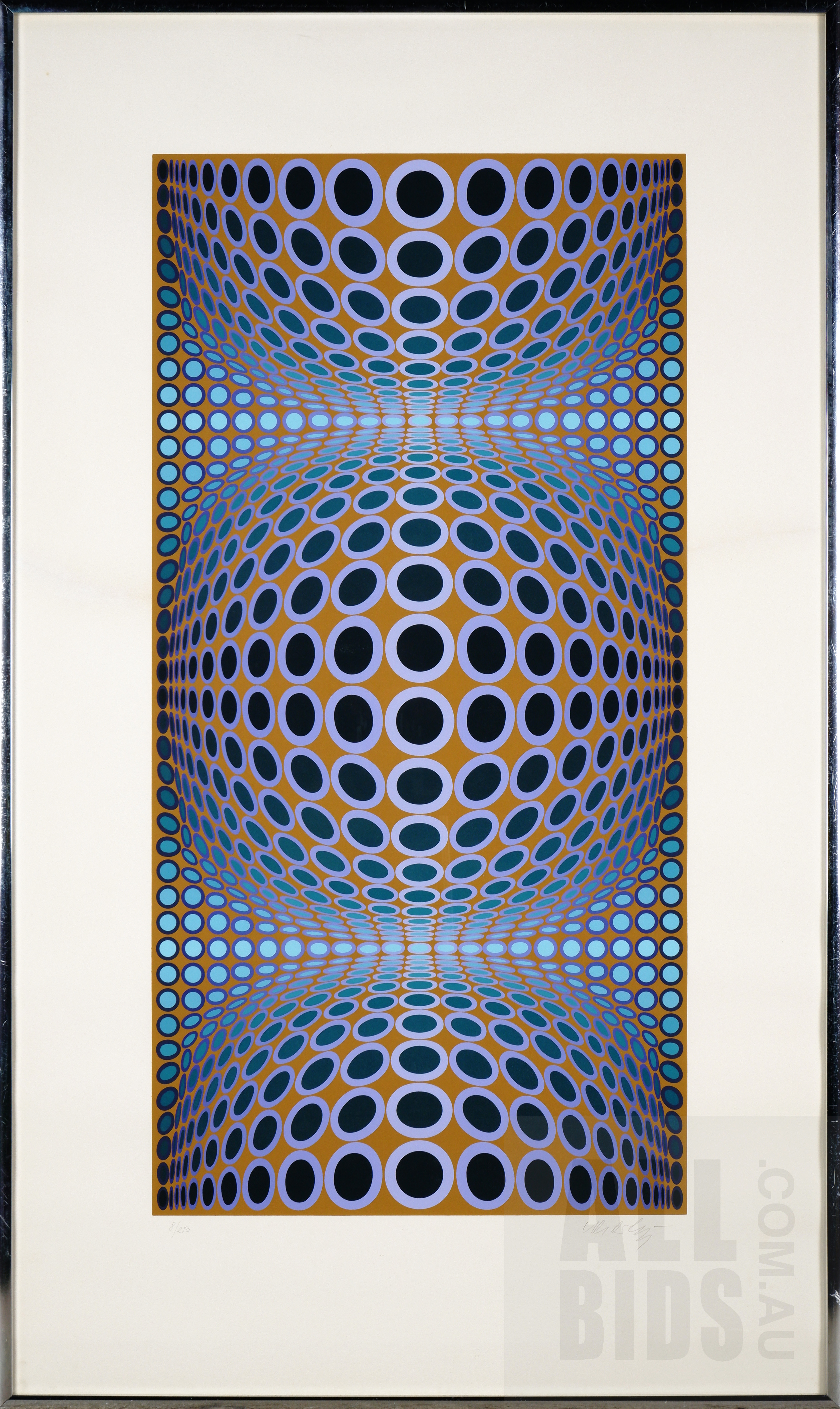 'Victor Vasarely (1906-1997, French), Blue Composition, Lithograph, 82 x 41 cm (image size)'