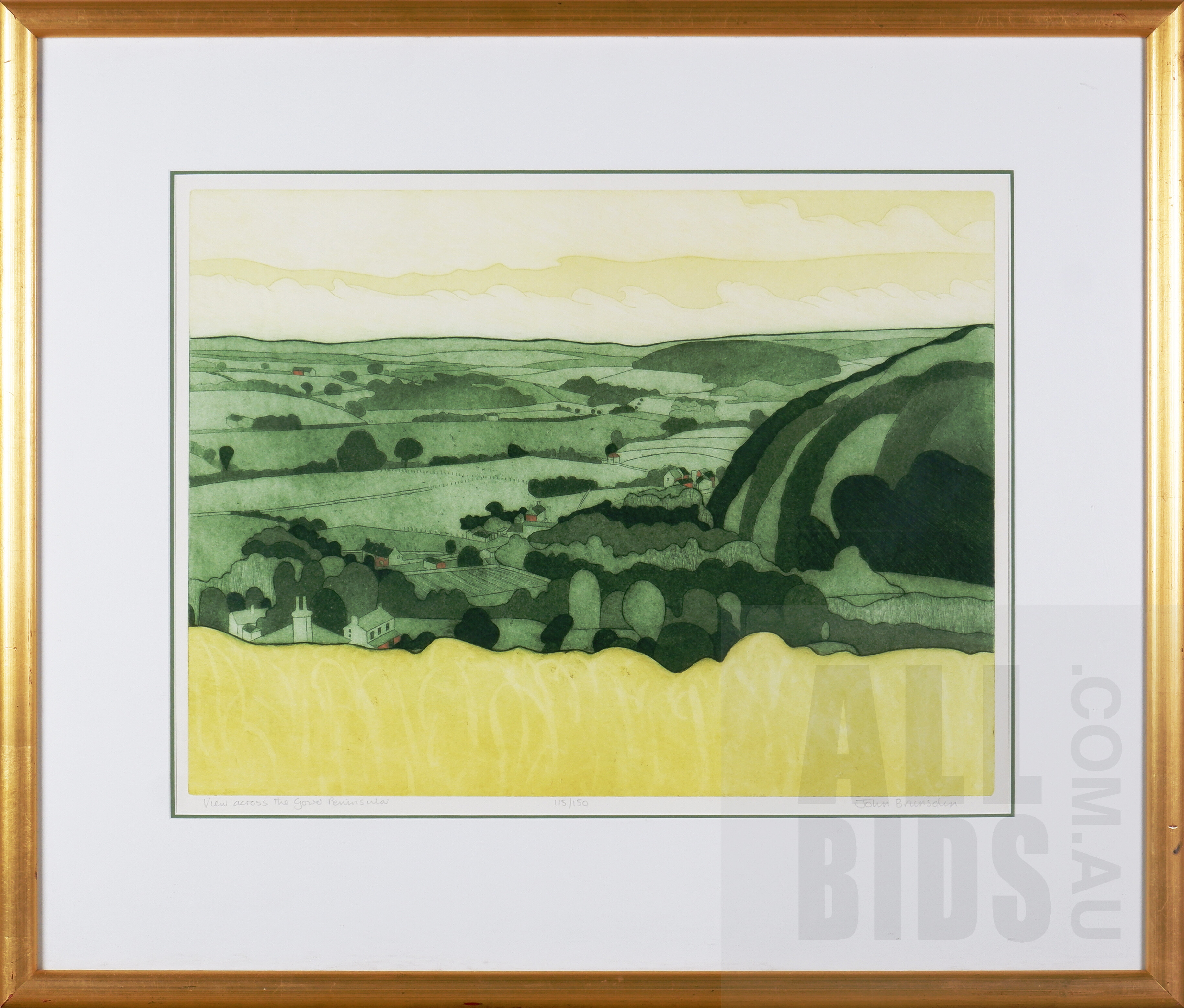 'John Brunsden (1933-2014, British), View Across the Gower Peninsula, Etching and Aquatint, 45 x 60 cm'