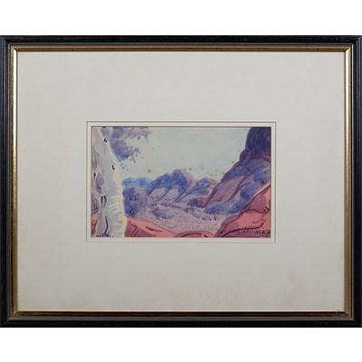 Joshua Ebatarinja (1940-1973), Central Australian Landscape, Watercolour, 15.5 x 25 cm