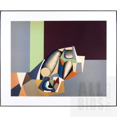 Jean Helion (1904-1987, French), Composition Fond Gris et Noir 1974, Lithograph, 66 x 83 cm (image size)