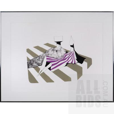 Lynn Chadwick (1914-2003, British), Seated Figures on Stripes II 1972, Lithograph, 56 x 76.5 cm (sheet size)