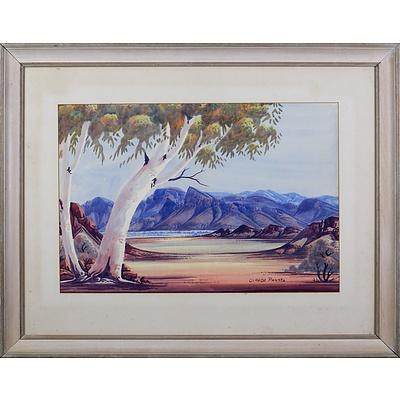 Claude Pannka (1928-1972), Central Australian Landscape, Watercolour, 34.5 x 51 cm